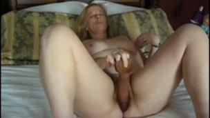 mom Edith cums intense with huge dildo